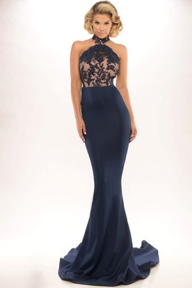 2a87aa4403f Sheath Sleeveless High Neck Lace Long Jersey Prom Dress With Backless Style  And Brush Train ...