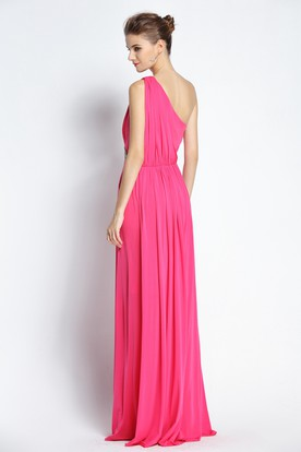 1337696eb19 ... Floor-length Sleeveless A-Line One-shoulder Chiffon Prom Dress with  Beading and