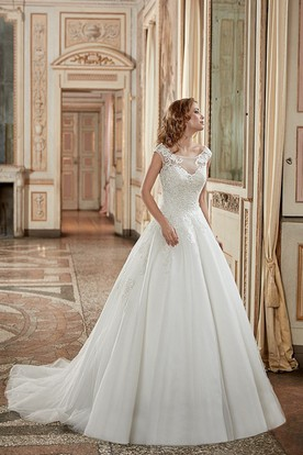 c65bdd712e71 A-Line Scoop-Neck Long-Sleeveless Tulle Wedding Dress With Appliques And  Deep ...