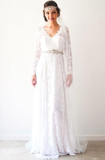 ee11d3cada4b Sheath Long-Sleeve V-Neck Lace Wedding Dress With Waist Jewellery