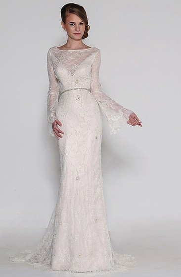 6588458a Bateau Long Jeweled Bell-Sleeve Lace Wedding Dress With Sweep Train And  Backless