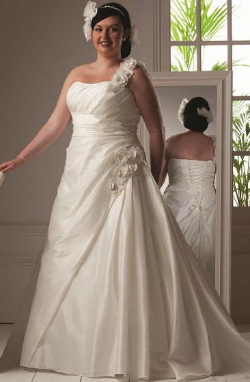 acca4af3172 Floral Single Strap Taffeta Bridal Gown With Lace Up