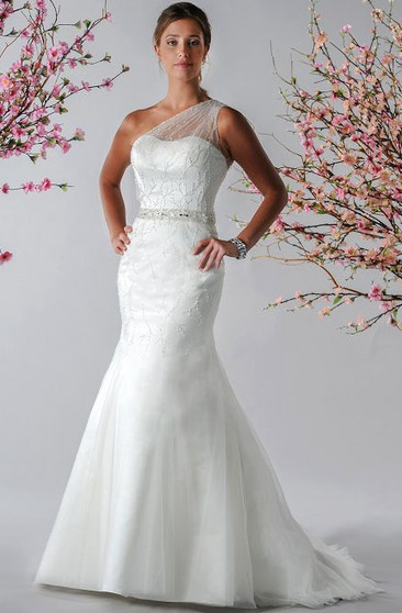 fb7d0de4a18 Illusion Tulle Single Strap Mermaid Bridal Gown With Crystal Waist