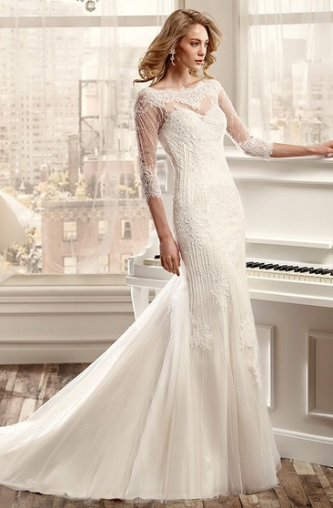 2491a0f78a013 Sheath Beaded Bateau Long 3-4-Sleeve Tulle Wedding Dress With Appliques And  Illusion