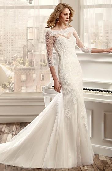 248c4736e858 Sheath Beaded Bateau Long 3-4-Sleeve Tulle Wedding Dress With Appliques And  Illusion