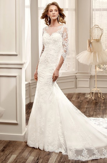 ecb6286179e2 3-4-Sleeve Mermaid Lace Wedding Dress With Illusion Back And Court Train