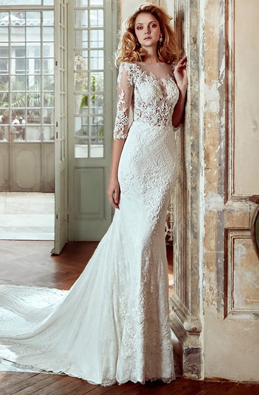 5f68d30bf2242 3-4-Sleeve Sheath Lace Wedding Dress With Court Train And Illusive  Appliqued Bodice