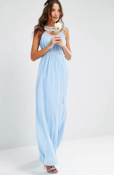9202b9b7135e Sheath Ruched Scoop-Neck Floor-Length Sleeveless Chiffon Bridesmaid Dress  With Beading