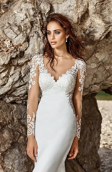 bb9dc6848770 Sheath V-Neck Long-Sleeve Chiffon Wedding Dress With Illusion