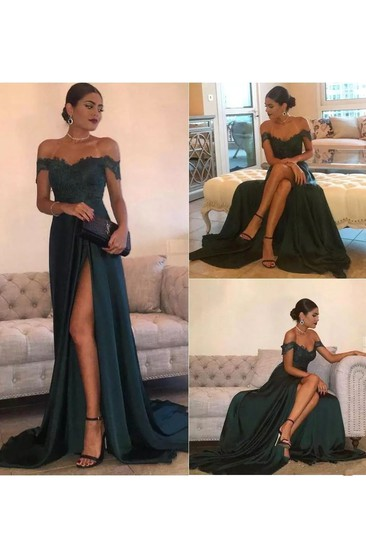 733c6651 Sleeveless A-line Off-the-shoulder Floor-length Court Train Jersey Lace