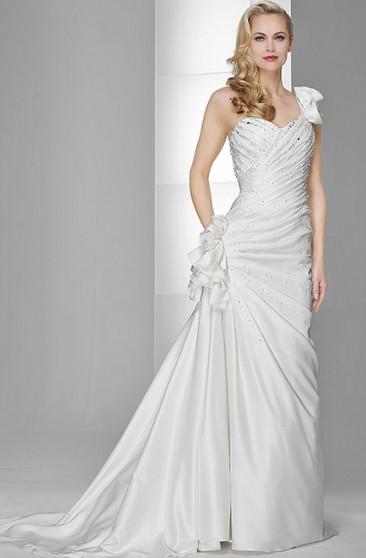 ca3e28b921c Sheath Floor-Length One-Shoulder Sleeveless Side-Draped Stretched Satin  Wedding Dress With