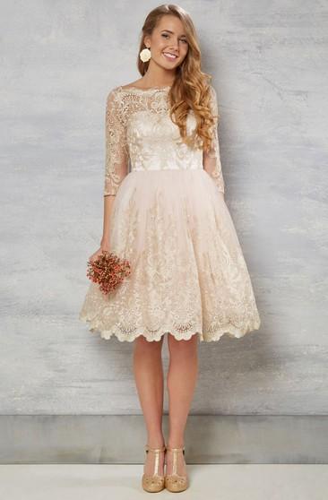 df00cdbbab8b A-Line Bateau-Neck Knee-Length 3-4-Sleeve Lace Wedding