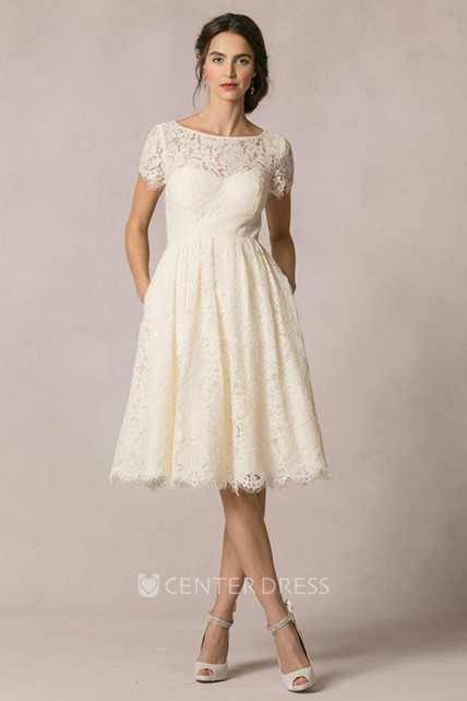 456767fdd16d A-Line Short-Sleeve Scoop-Neck Short Lace Wedding Dress With Keyhole ...