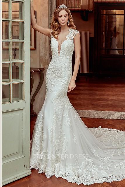 Cap Sleeve Sheath Lace Wedding Dress With Brush Train And Open Back
