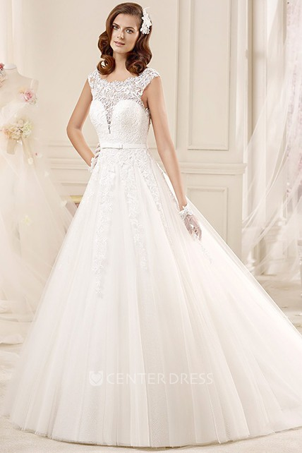 Scalloped Neck Cap Sleeve Wedding Gown With Illusive Lace And Brush Train