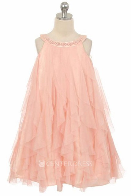 Floral Tea-Length Beaded Floral Satin Flower Girl Dress With Ruffles