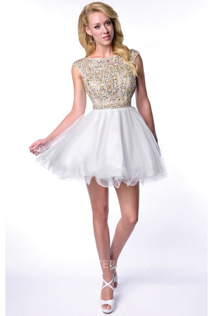 Mini Bateau Neck Keyhole Back Homecoming Dress With Tulle Skirt And Rhinestone Bodice