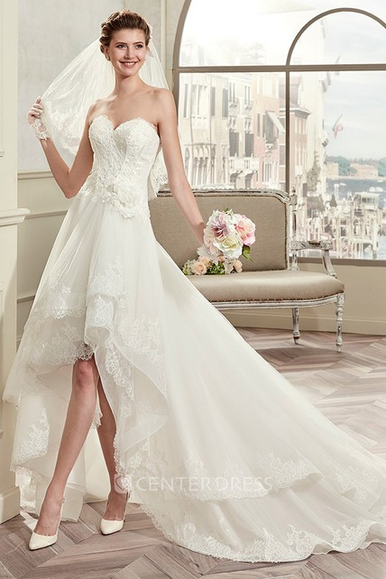 High Low Wedding Dresses.Sweetheart High Low Wedding Gown With Lace Corset And Brush Train