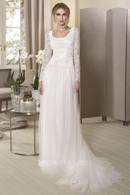738b3456814fe Sheath Square-Neck Long-Sleeve Floor-Length Tulle Wedding Dress With Lace  And