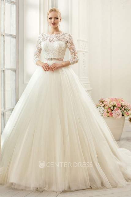 15dcbdcf60 Ball Gown Long Bateau Long-Sleeve Deep-V-Back Tulle Lace Dress With  Appliques And Waist Jewellery