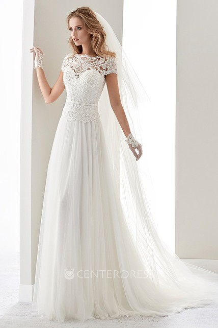 3c98b058fc20 Scalloped-Neck Illusion Draping Wedding Dress With Lace Bodice And T-Shirt  Sleeves