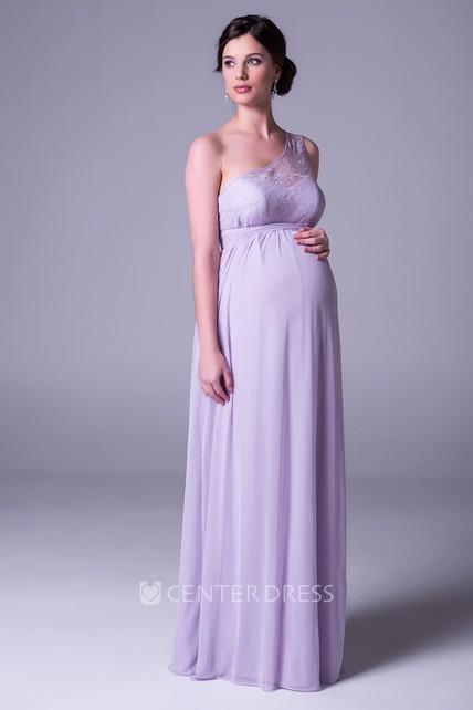 b23537097d67 Empire One-Shoulder Lace Chiffon Bridesmaid Dress - UCenter Dress