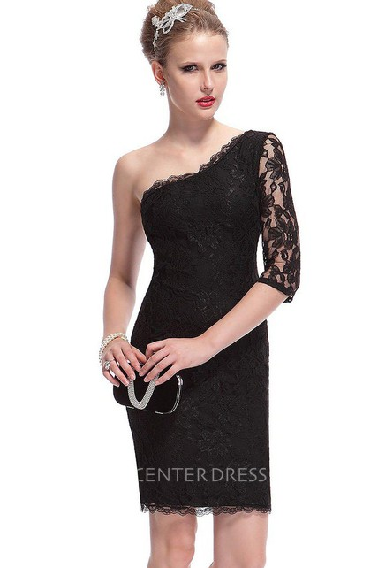 One Shoulder Lace Sheath Dress With Half Sleeve