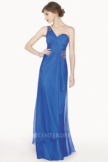4914142735b Crystal Single Strap Chiffon Long Prom Dress With Side Drape And Back  Keyhole
