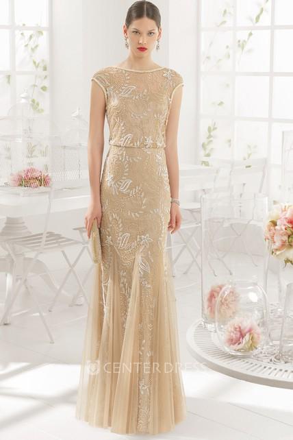 89027ed57ed1aa Maxi Sheath Jewel Neck Beaded Short Sleeve Tulle Prom Dress ...
