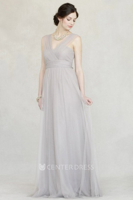 Sleeveless Criss-Cross V-Neck Empire Tulle Bridesmaid Dress With Straps