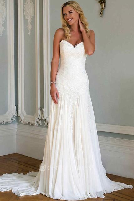 Sweetheart Wedding Dress.Sheath Sweetheart Chiffon Lace Wedding Dress With Pleats And Court Train
