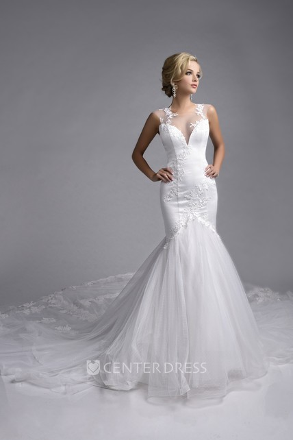 Sleeveless Lace Liqued Tulle Mermaid Wedding Dress With Illusion Top