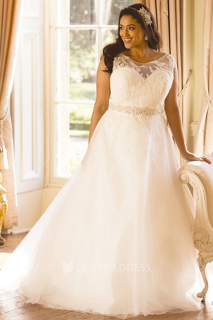 Ball Gown Scoop-Neck Sleeveless Long Jeweled Tulle Plus Size Wedding Dress  With Appliques And Illusion