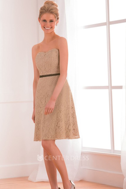 Sweetheart A-Line Short Lace Bridesmaid Dress With Beaded Waistline
