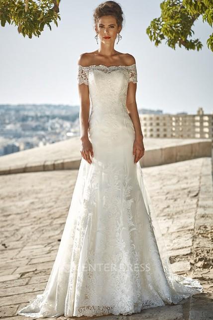 98b775f7fb2b1f Floor-Length Appliqued Off-The-Shoulder Lace Wedding Dress - UCenter ...