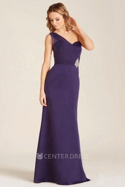 45db7381e5fd Maxi Jeweled One-Shoulder Sleeveless Satin Bridesmaid Dress ...