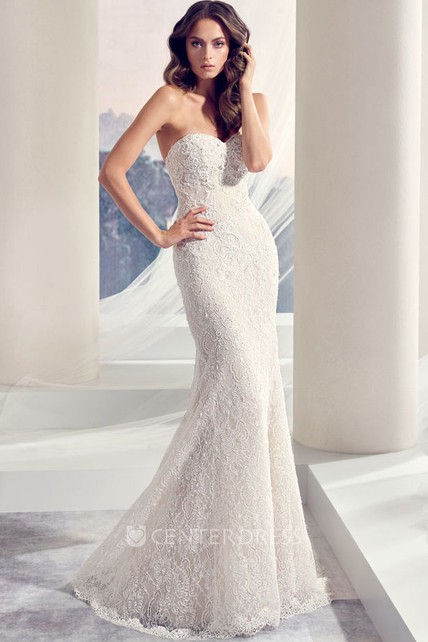 783d179d Sweetheart Long Beaded Lace Wedding Dress With Sweep Train - UCenter ...