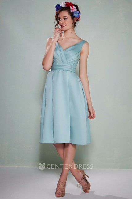 26451fc207 Tea-Length Sleeveless Ruched V-Neck Satin Bridesmaid Dress