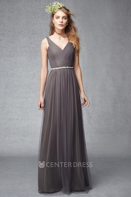 Sheath Ruched V-Neck Sleeveless Floor-Length Tulle Bridesmaid Dress With Waist Jewellery