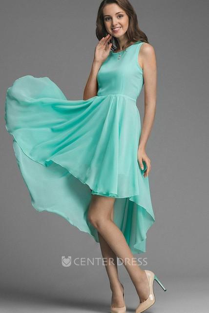 9f7060a7b2 Asymmetrical Bow Belt Chiffon Bridesmaid Dress