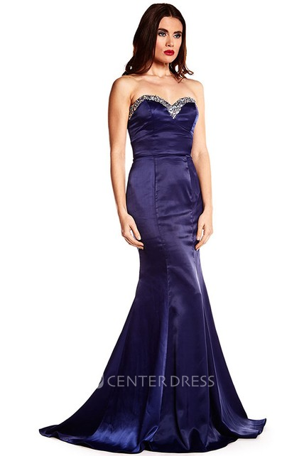 Trumpet Beaded Sleeveless Long Sweetheart Satin Prom Dress