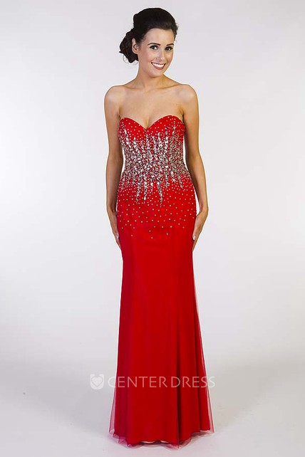 03f7361ac45 Sheath Sleeveless Sweetheart Long Crystal Jersey Prom Dress With Corset Back