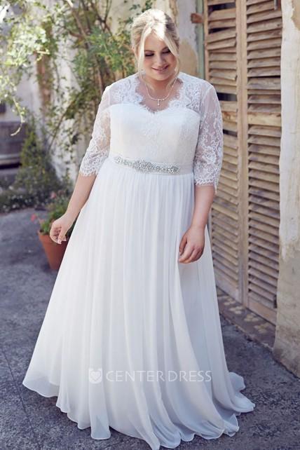 c8c6155c8fdde0 Jeweled Half-Sleeve V-Neck Chiffon Plus Size Wedding Dress With Pleats