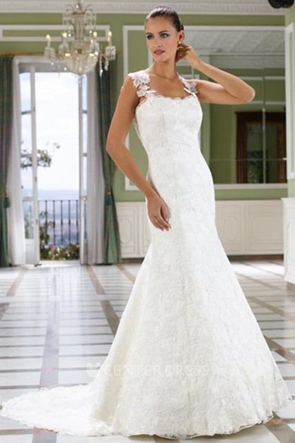 391cd3fe4 Trumpet Floor-Length Sleeveless Lace Wedding Dress With Court Train And  Deep-V Back
