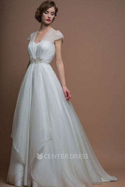 3f99825f13d9d V-Neck Long Jeweled Cap-Sleeve Organza Wedding Dress With Sweep Train And  Illusion