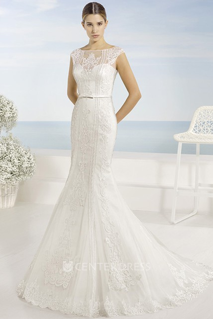 b9b54bd982c0 Trumpet Appliqued Long Bateau Cap-Sleeve Lace Wedding Dress With Court  Train And Illusion Back
