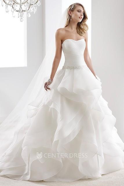 4a86d257c2e1d Illusion-Neck Sheath Mermaid Wedding Dress With Beaded Design And Brush  Train