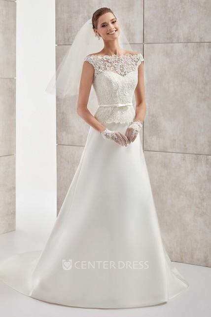 Jewel Neck Cap Sleeve Satin Wedding Dress With Lace Bodice