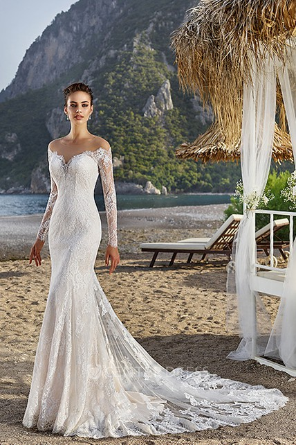 22504a53b98b Sheath Off-The-Shoulder Long-Sleeve Lace Wedding Dress With Illusion ...