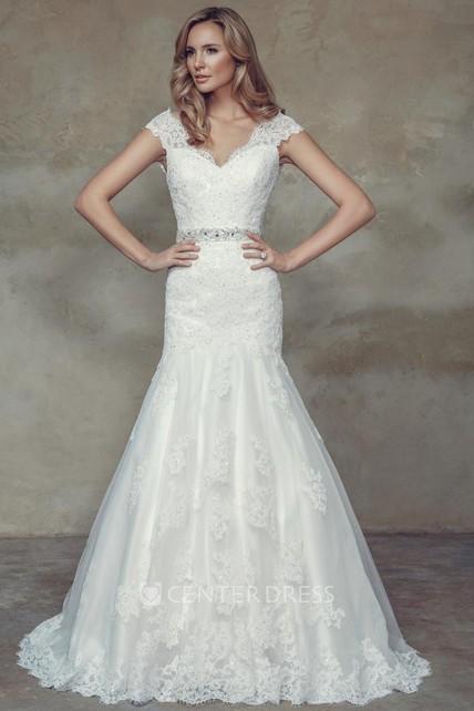 3103ca401a78 Mermaid Cap-Sleeve Jeweled V-Neck Lace Wedding Dress - UCenter Dress